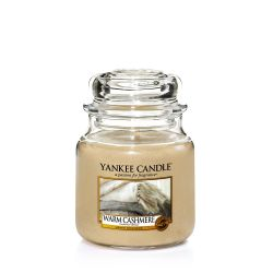 Scented candle Yankee Candle color beige   Warm Cashmere  Medium Jar online price for sale:  18.68 €