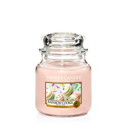 Scented candle Yankee Candle color pink   Rainbow Cookie Medium Jar online price for sale:  24.90 €