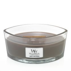 Scented candle WoodWick color grey   Ellipse Candle SAND & DRIFTWOOD online price for sale:  26.17 €