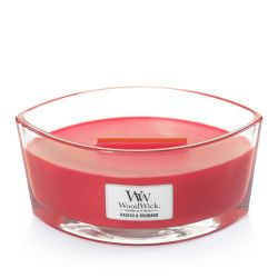 Scented candle WoodWick color red   Ellipse Candle RADISH & RHUBARB online price for sale:  34.90 €