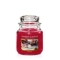 Scented candle Yankee Candle color red   Frosty Gingerbread Medium Jar online price for sale:  24.90 €