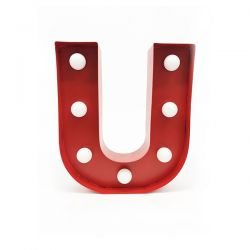 Arredo Casa Pusher color red   Luminous Letter U online price for sale:  17.00 €