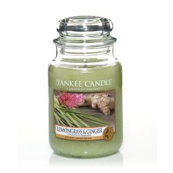 Scented candle Yankee Candle color green   Lemongrass & Ginger Large Jar online price for sale:  29.90 €