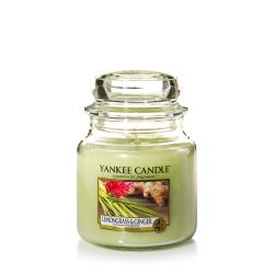 Scented candle Yankee Candle color green   Lemongrass & Ginger Medium Jar online price for sale:  24.90 €
