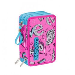 Pencil case Seven color pink   Astuccio 3 ZIP Keys online price for sale:  35.90 €