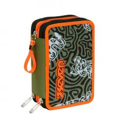 Pencil case Seven color green   Astuccio 3 ZIP Totem online price for sale:  35.90 €