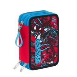 Pencil case Seven color red/blue   Astuccio 3 ZIP Reptil online price for sale:  35.90 €