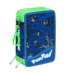 Pencil case Seven color blue/green   Astuccio 3 ZIP Koi PEN PAD online price for sale:  36.90 €